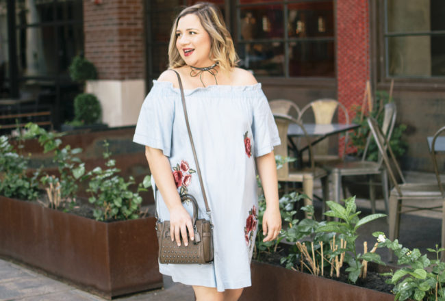 Off the shoulder embroidered dress from JCPenney and 24 Week BumpDate-Lipstick and Brunch-1